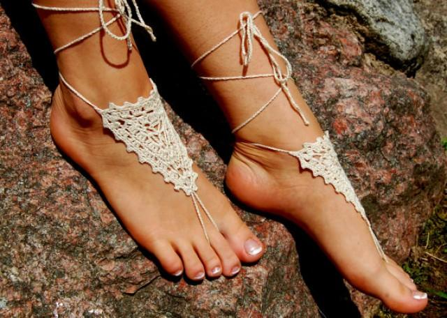 wedding photo - Ivory Barefoot Sandals, Crochet Beach Wedding Shoes, Anklet, Nude Shoes, Yoga socks, Foot Jewelry, For Women