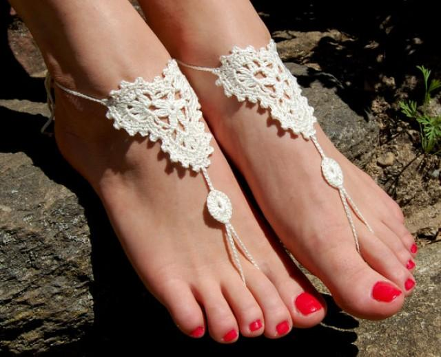 wedding photo - Barefoot Sandals, Beach Wedding Shoes, Wedding Accessories, Nude Shoes, Yoga socks, Foot Jewelry