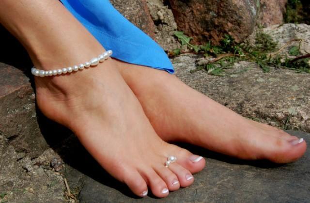 wedding photo - Beaded Anklet, Foot Bracelet, Foot Jewelry,Beach Jewelry, Beach Wedding Accessories, Foot Rings