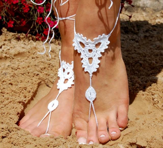 wedding photo - Crochet Barefoot Sandals, Beach Shoes, Wedding Accessories, Nude Shoes, Yoga socks, Foot Jewelry