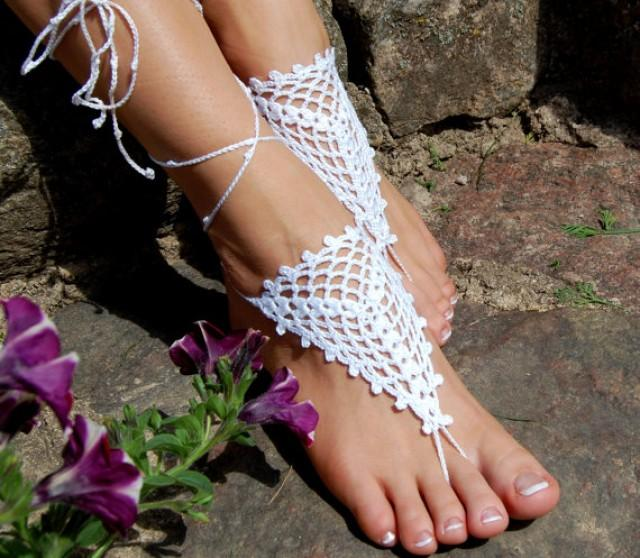 wedding photo - Crochet Barefoot Sandals, Beach Shoes, Wedding Accessories, Nude Shoes, Bridal shoes, Accessories for Women, Foot Jewelry