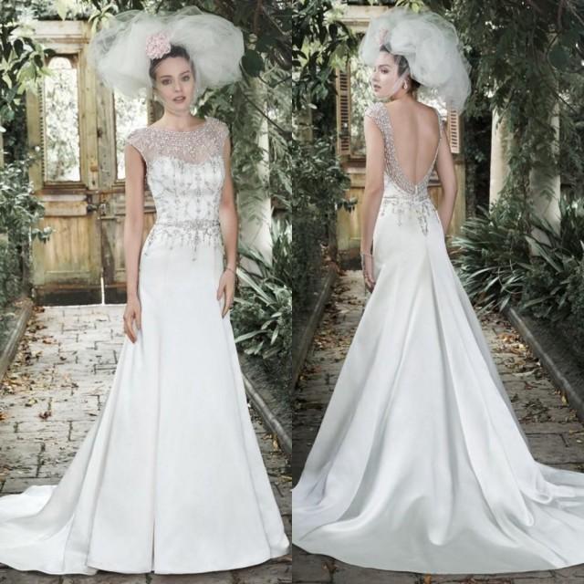 Elegant beaded wedding dresses 2015 sheer crew neck for Wedding dresses garden wedding