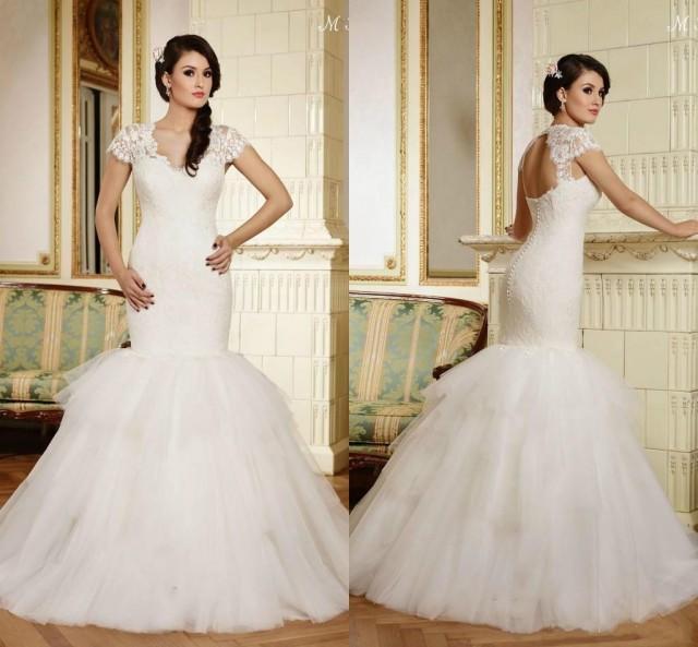 Cheap 2015 Maya Modest Mermaid Wedding Dresses V Neck