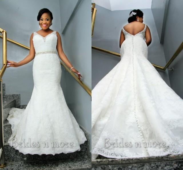 Vintage mermaid lace plus size wedding dresses 2015 v neck for Plus size mermaid wedding dresses