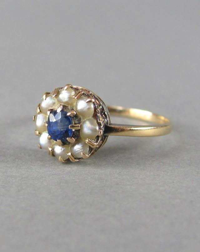 PRETTY Gold Seed Pearl And Sapphire Antique Victorian Engagement Ring Stack