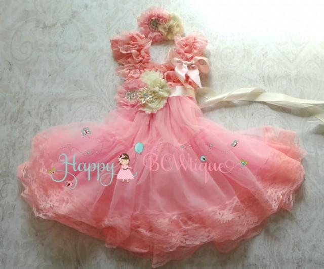 wedding photo - Flower girl dress, Pink Chiffon Embellished Lace Dress set,Girls dress,baby dress,1st Birthday dress, wedding flower girl,Pink dress,Wedding