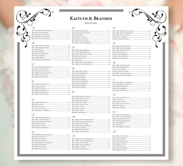 Wedding Seating Chart Elegance Black White Template Printable Reception Listing All Colors Available For Order 2302908 Weddbook