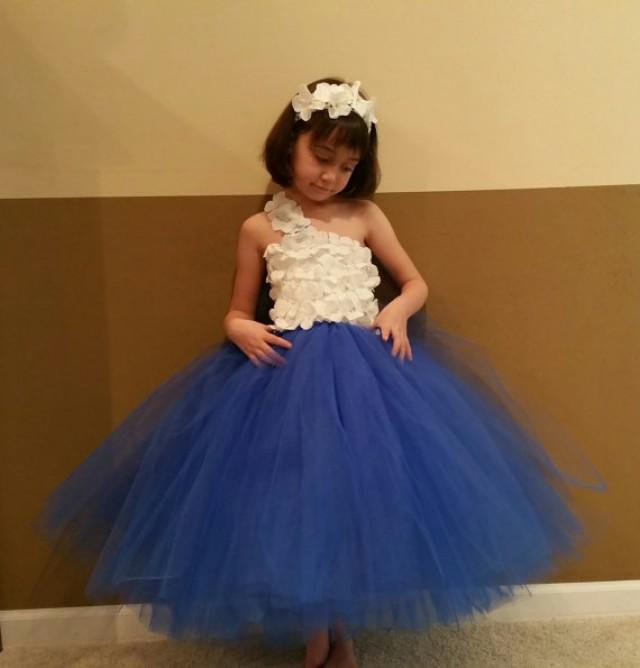 royal blue amp white flower girl dress junior bridesmaids
