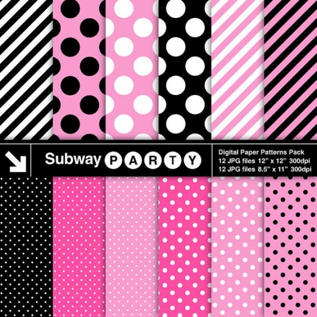 Minnie party digital papers pink black and white polka for Dots and stripes party theme