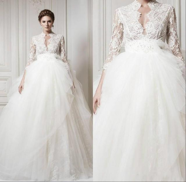 2015 Wedding Dresses With 3/4 Long Sleeve Lace 2015 Sheer