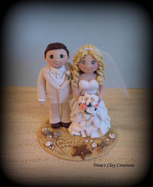 wedding cake topper custom wedding topper bride and groom beach theme personalized polymer. Black Bedroom Furniture Sets. Home Design Ideas