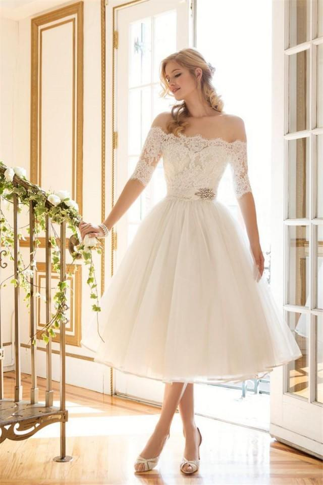 Short off shoulder lace wedding dresses 1 2 long sleeve for Where to buy cheap wedding dresses online