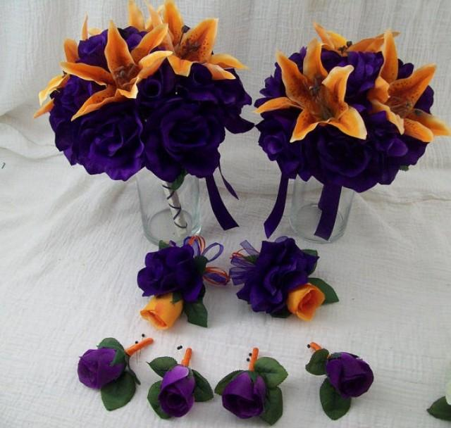 8 Piece Wedding SiLK FLoWeR Package Orange LiLieS And Dark Purple Roses Tropical Destination Weddings Bridal Bouquet Boutonnieres 2304558