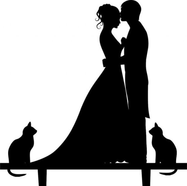 Wedding Cake Topper Silhouette Groom And Bride Acrylic