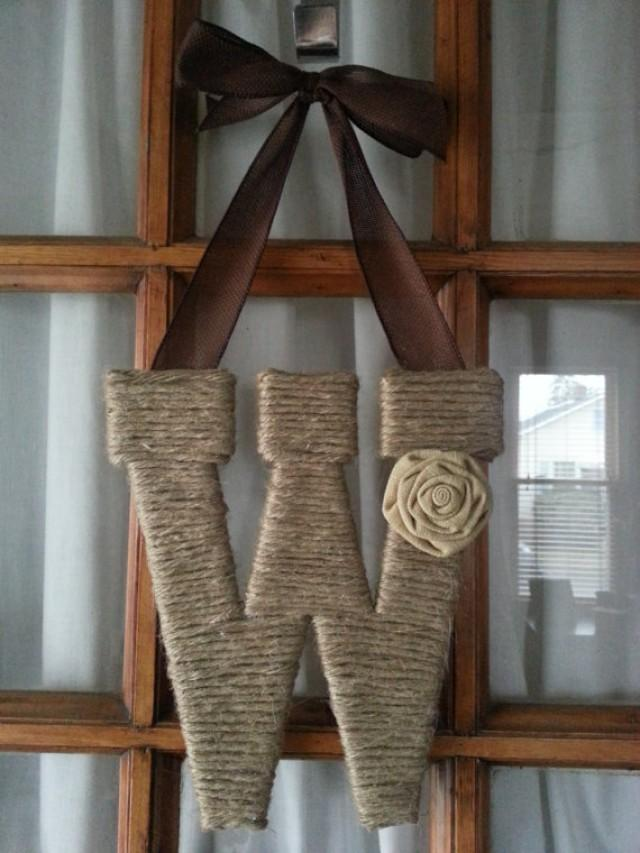 Twine letter monogram wreath initial wreath home decor for Initial decorations for home