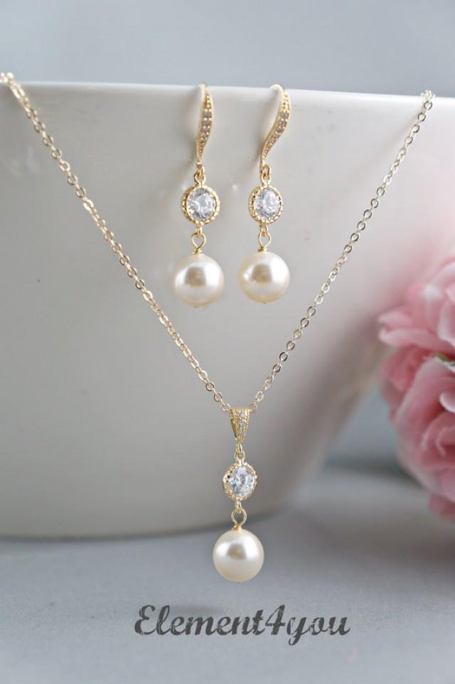 Wedding Jewelry Gift For Bride : Bridal Jewelry Set Bridesmaid Necklace Earrings Set Pearls Cubic ...