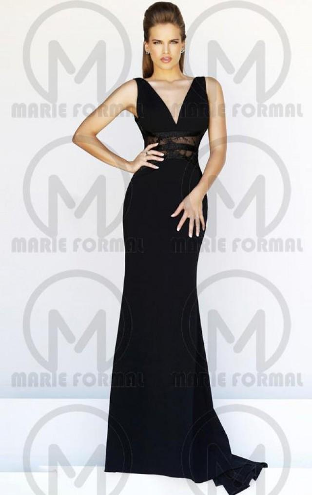 wedding photo - v-neck black formal dresses