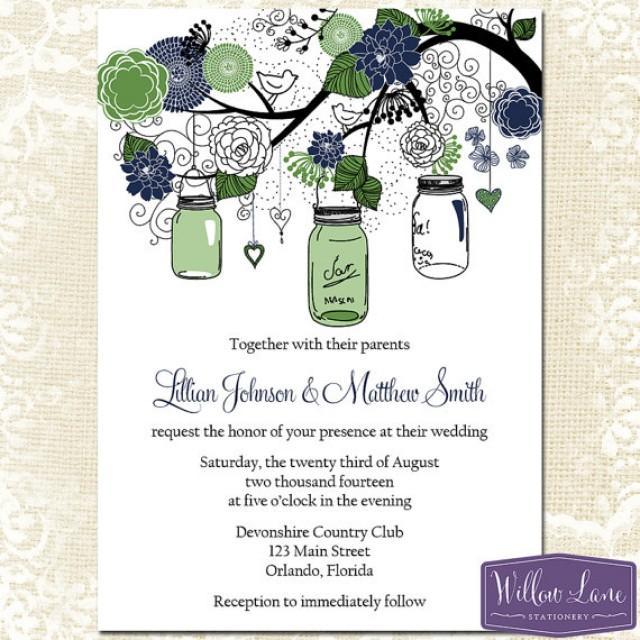 Mason Jar Wedding Invitation Green And Navy Blue Mason