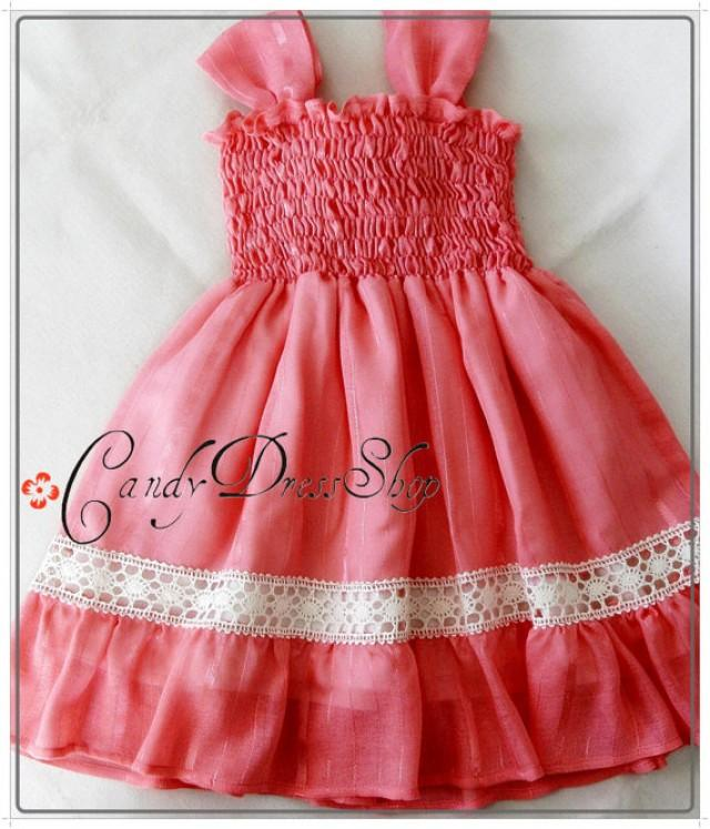 Girls Coral Orange Dress Organic Cotton And Silk Dress