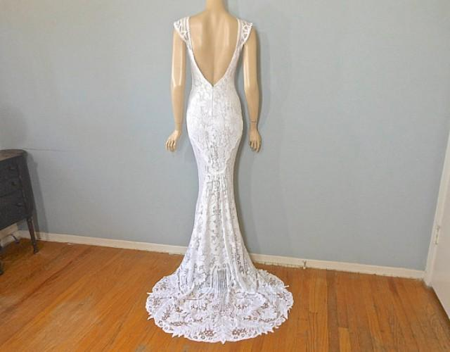 Reserved jade lace mermaid wedding dress hippie boho for White hippie wedding dress