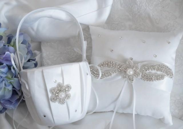 flower girl basket ring bearer pillow wedding basket and pillow set style 350 2305449. Black Bedroom Furniture Sets. Home Design Ideas