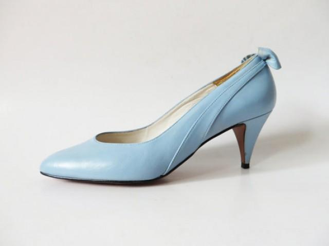 vintage 80s light blue wedding shoes with bow genuine