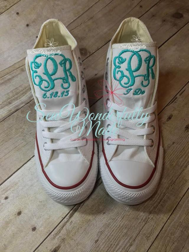 Monogrammed Wedge Converse High Tops - Wedge Converse - Personalized  Wedding Day Shoes - Monogrammed Wedge Shoes - Bride shoes - Wedding 6abd9bdbc