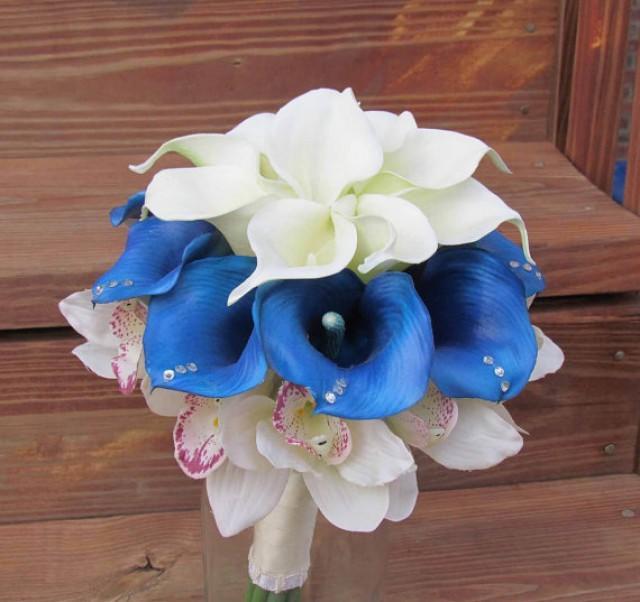 Blue ivory calla lily bridal bouquet with cymbidium