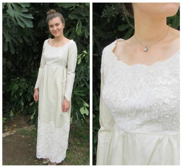 Simple Long Hair Wedding Style For Mother Of Groom In Her 60 S: 60s Vintage Satin And Lace Ivory Winter White Wedding