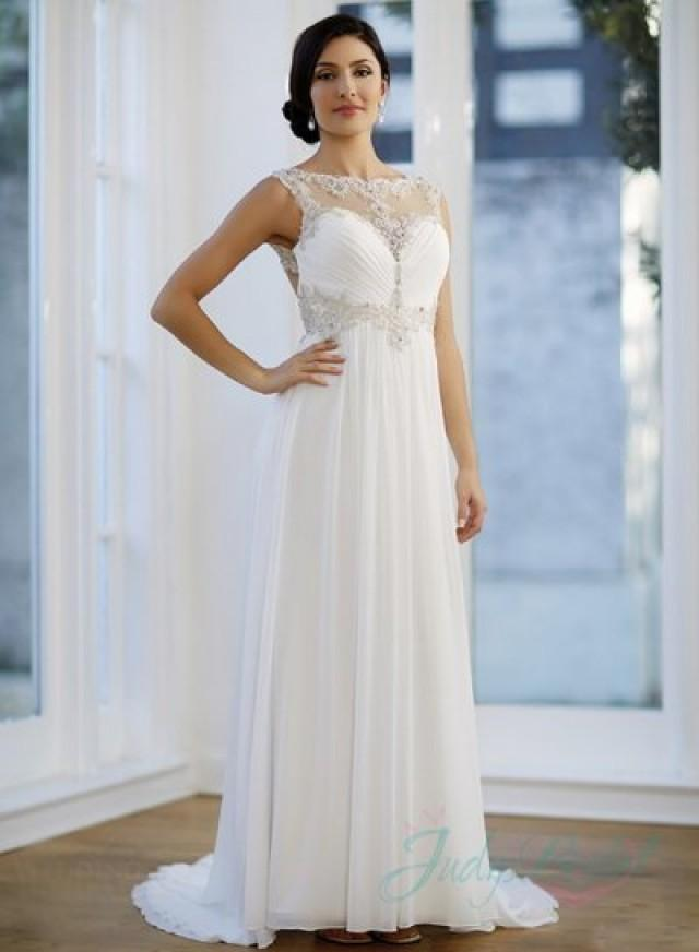 Jw15165 sexy illusion embroidery top cut out back chiffon for Wedding dress with illusion top