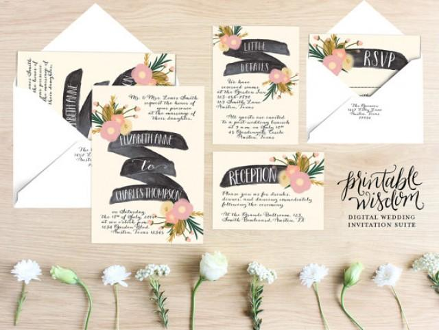 Digital Wedding Invitation Ideas: Printable Wedding Invitation Suite Floral Wedding Invite