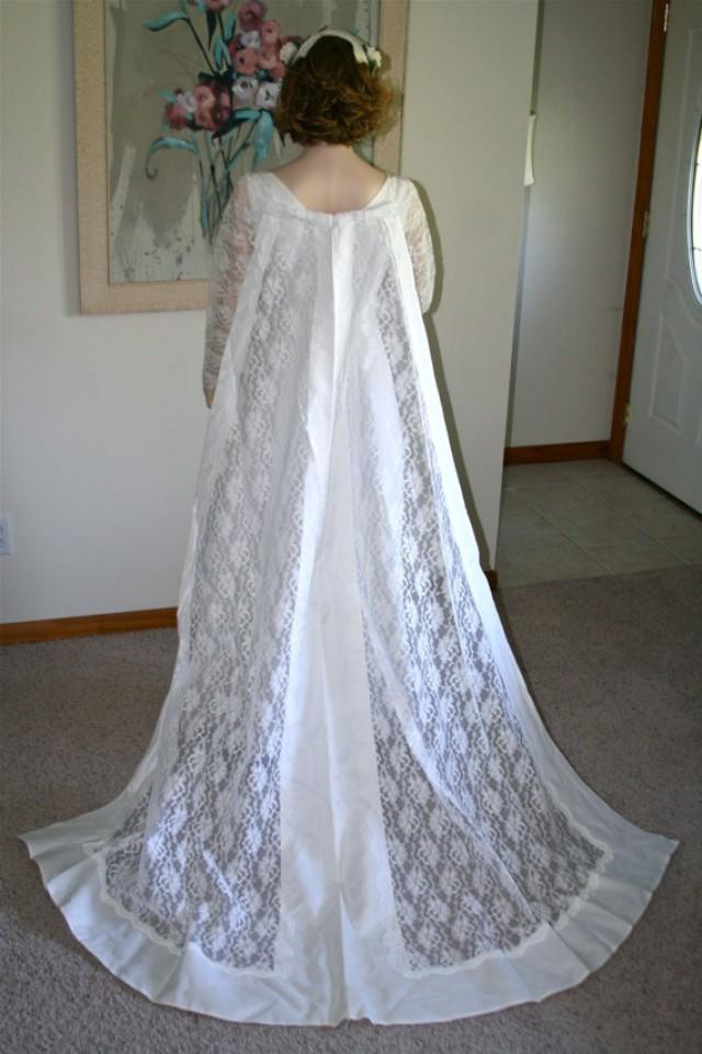 Vintage 1970 39 s wedding dress and detachable train cape for Wedding dress with cape train
