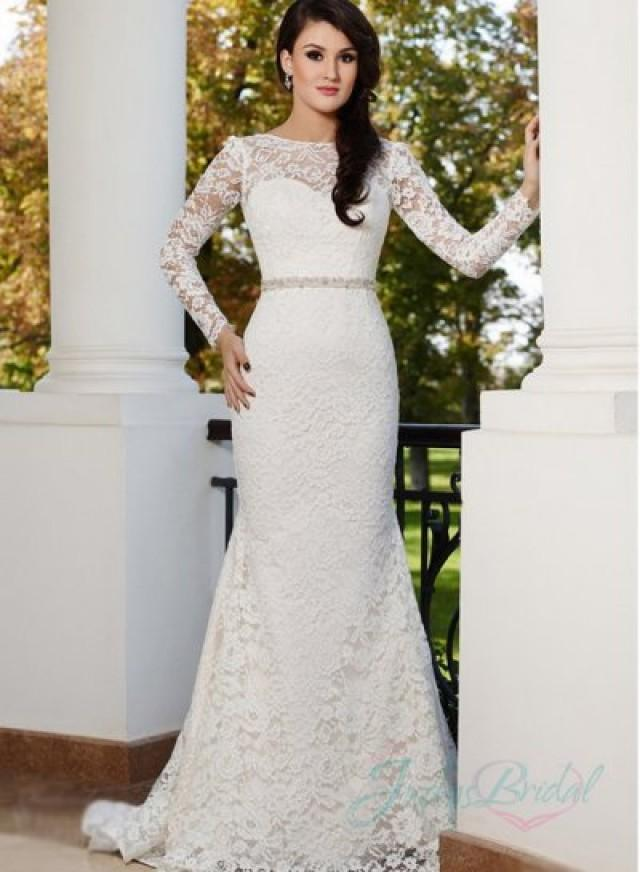 Jw15170 sexy backless long sleeves lace sheath wedding for Long sleeve backless wedding dress