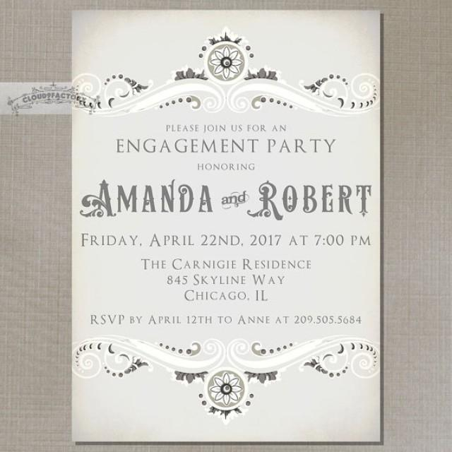 Sophisticated Vintage Engagement Party Invitations Digital Printed – Vintage Engagement Party Invitations