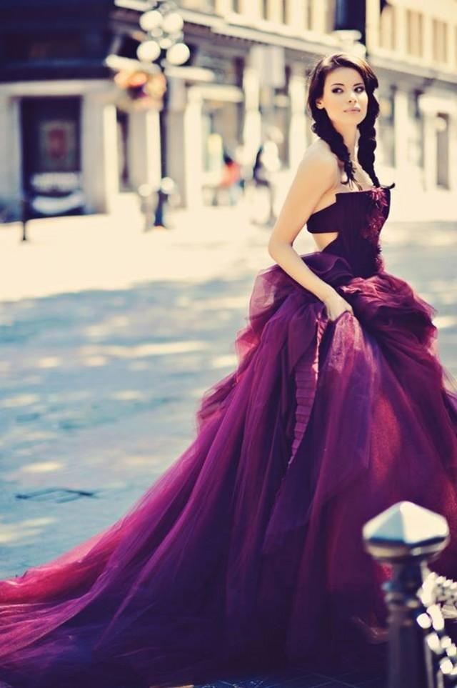 wedding photo - Amazing purple wedding dress