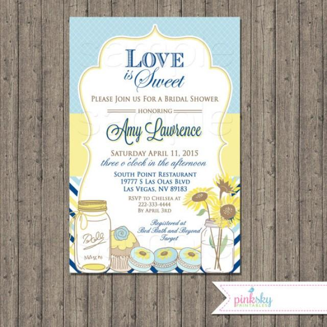 Love is sweet blue and yellow bridal shower invitations for Yellow bridal shower invitations