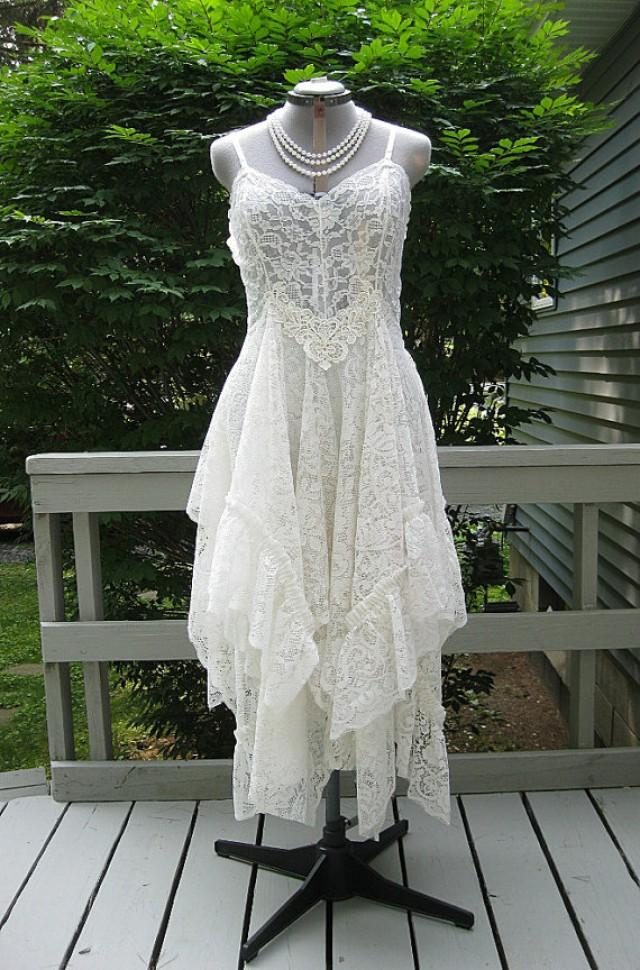 Off white alternative bride tattered boho gypsy hippie Hippie vintage wedding dresses