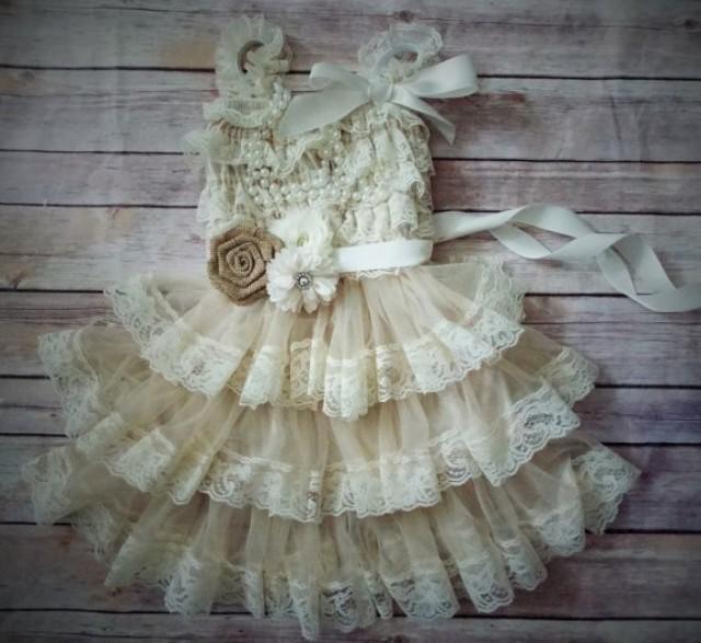 Country flower girl dress rustic flower girl dress for Country wedding flower girl dresses