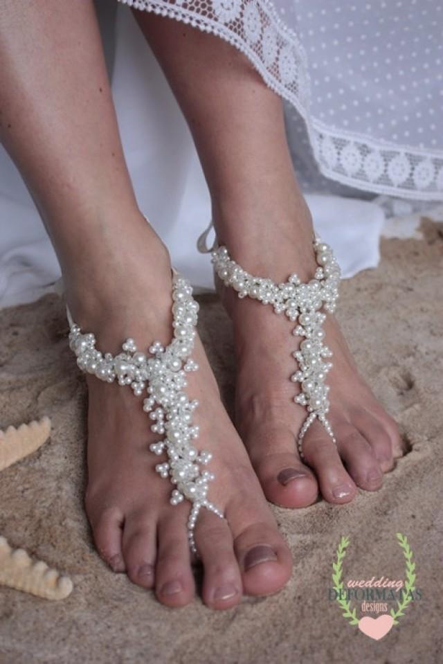 Beach Wedding Foot Jewelry Bridal Crystal Pearl Barefoot SandalsBoho Slave AnkletBoho WeddingFlower Girl ShoesFootles Sandles 2307860