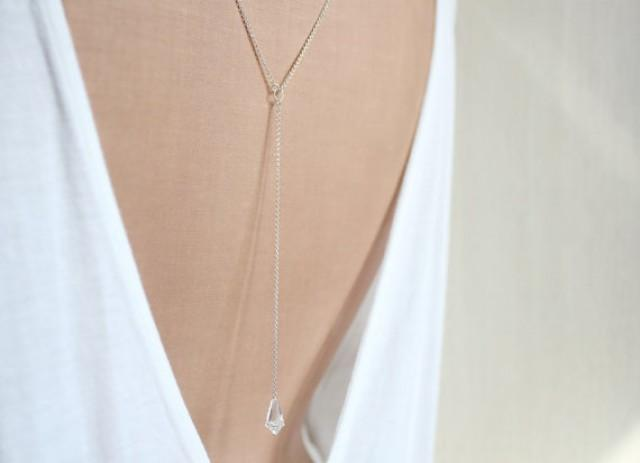 S i l v e r back necklace backdrop necklace back chain for Back necklace for wedding dress