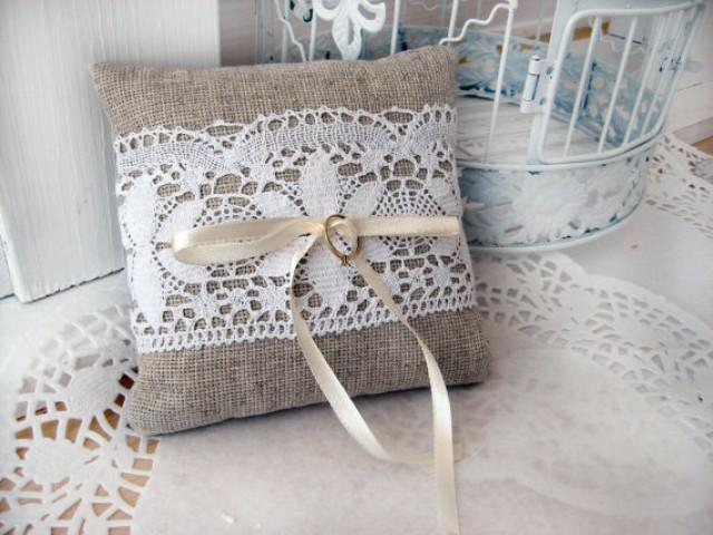 Shabby Chic Beach Pillows : Lace Rustic Wedding Pillow/ Burlap Wedding Ring Pillow/ Ring Bearer Pillow/ Shabby Chic Pillow ...