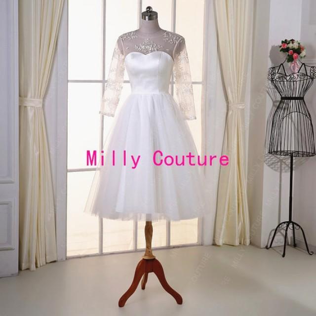 Lace tea length wedding dress sleeves retro wedding dress for Tea length wedding dress tulle skirt