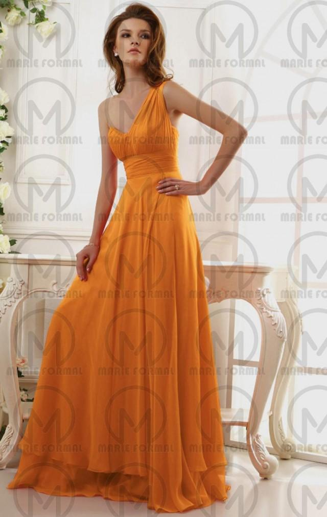 wedding photo - One shoulder floor length yellow formal dresses collection