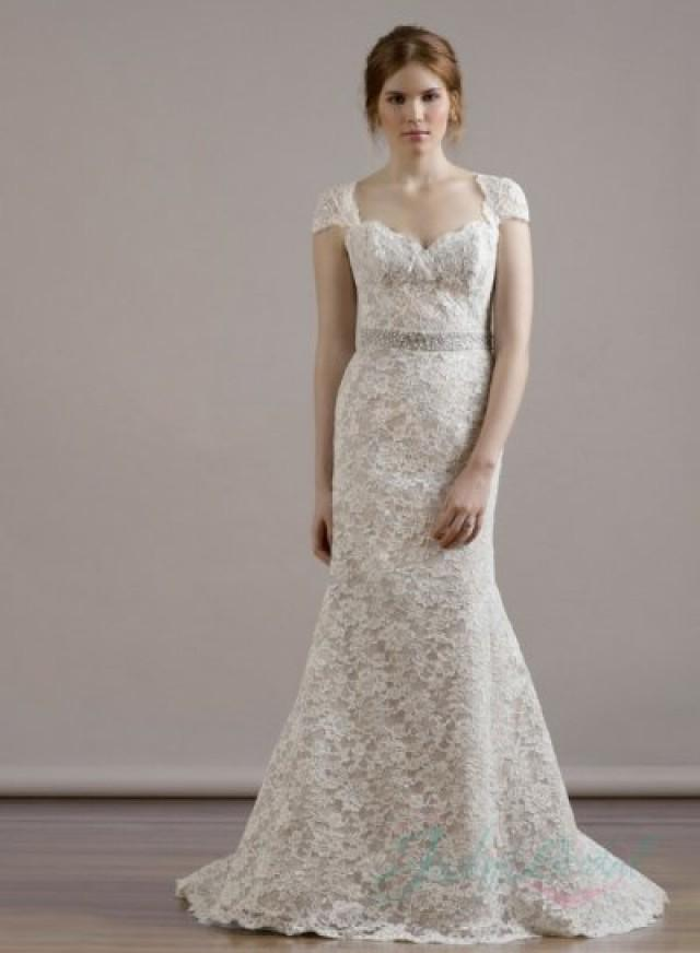 sweetheart neck cap sleeves keyhole back lace sheath On lace sweetheart wedding dress cap sleeves