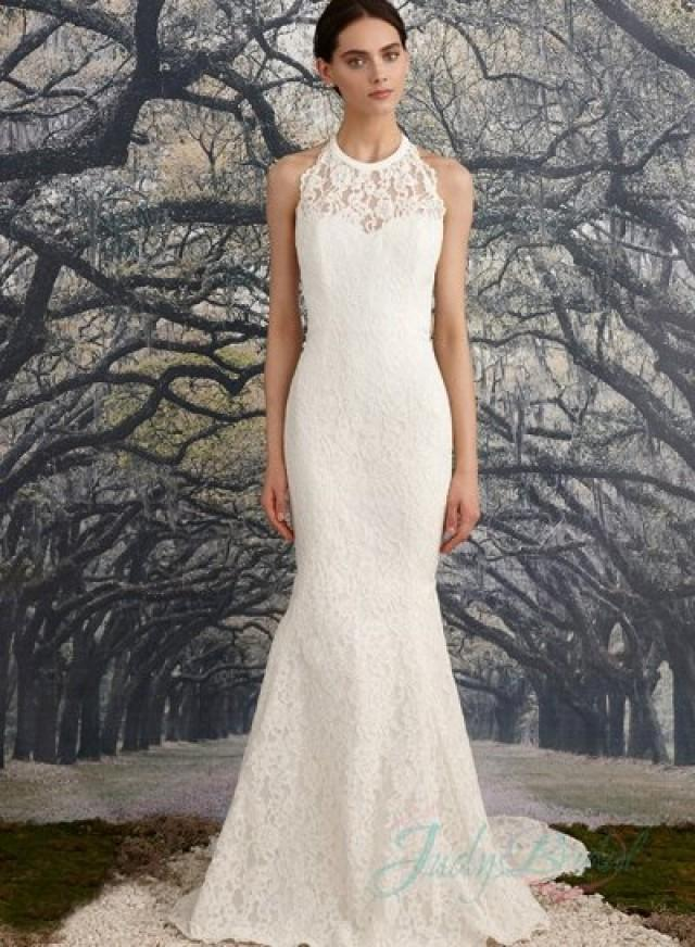 Sexy illusion lace halter neck backless sheath wedding for Backless sheath wedding dresses