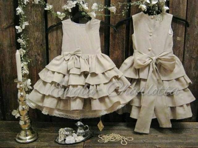 Country flower girl dress linen flower girl dress for Country wedding flower girl dresses