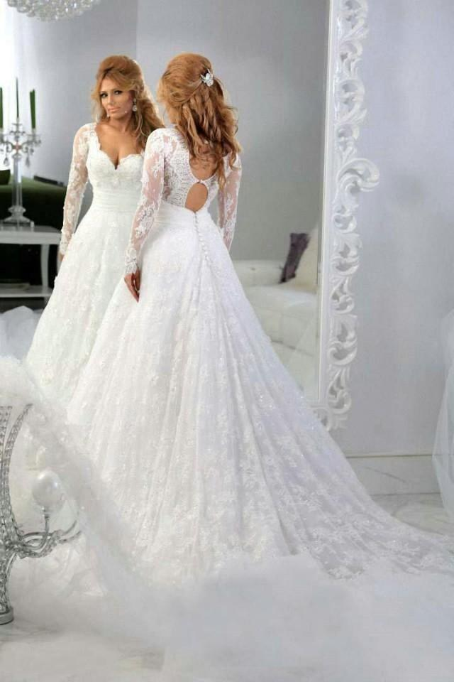 Vintage lace long sleeves beaded a line wedding dresses for Vintage backless wedding dresses