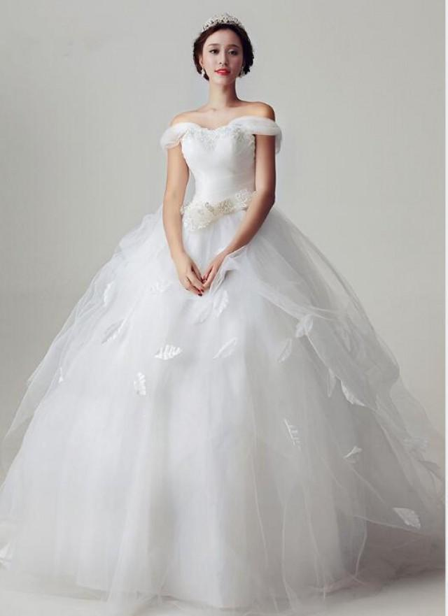 Charming 2015 A Line White Wedding Dresses Ball Gowns Sash