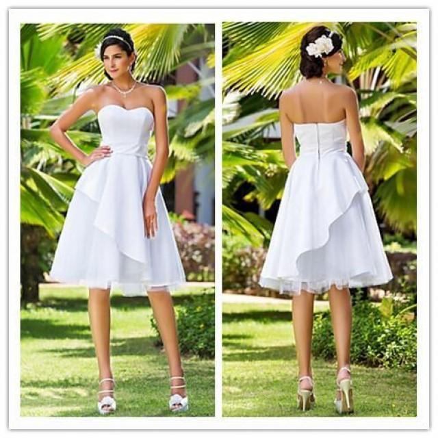 2015 summer beach short wedding dresses sleeveless knee for Knee length beach wedding dresses
