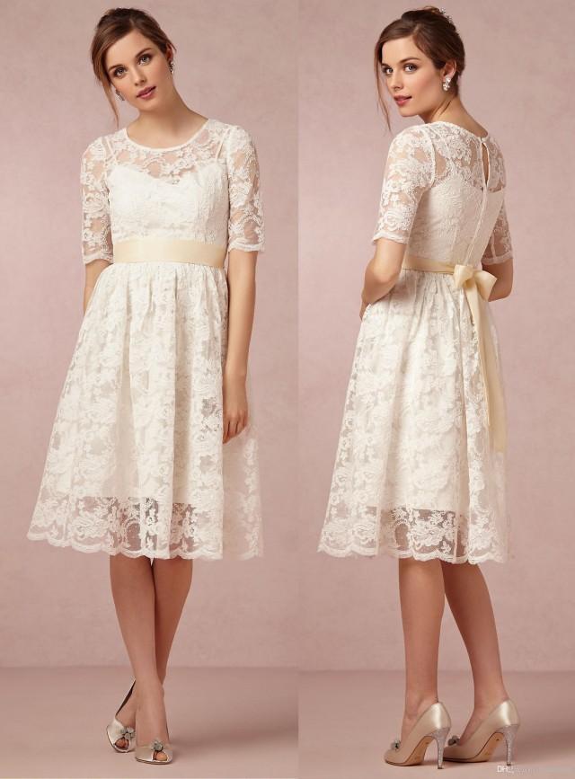 Beach short wedding dresses half sleeve scoop sheer sash for Tea length wedding dresses online